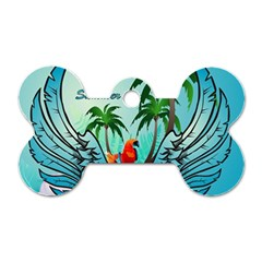 Summer Design With Cute Parrot And Palms Dog Tag Bone (one Side)