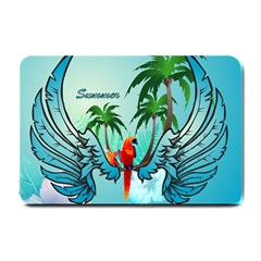 Summer Design With Cute Parrot And Palms Small Doormat  by FantasyWorld7