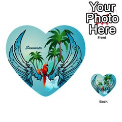 Summer Design With Cute Parrot And Palms Multi Purpose Cards (heart)  by FantasyWorld7