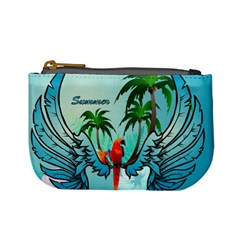 Summer Design With Cute Parrot And Palms Mini Coin Purses