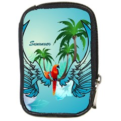 Summer Design With Cute Parrot And Palms Compact Camera Cases by FantasyWorld7