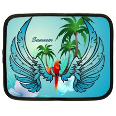 Summer Design With Cute Parrot And Palms Netbook Case (xl)  by FantasyWorld7