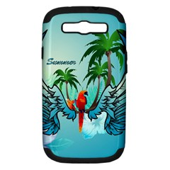 Summer Design With Cute Parrot And Palms Samsung Galaxy S Iii Hardshell Case (pc+silicone) by FantasyWorld7