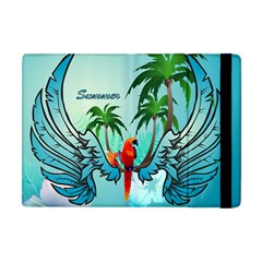 Summer Design With Cute Parrot And Palms Apple Ipad Mini Flip Case by FantasyWorld7