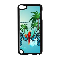 Summer Design With Cute Parrot And Palms Apple Ipod Touch 5 Case (black)
