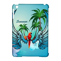 Summer Design With Cute Parrot And Palms Apple Ipad Mini Hardshell Case (compatible With Smart Cover) by FantasyWorld7