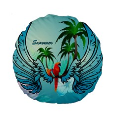 Summer Design With Cute Parrot And Palms Standard 15  Premium Round Cushions by FantasyWorld7