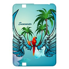 Summer Design With Cute Parrot And Palms Kindle Fire Hd 8 9