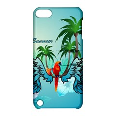 Summer Design With Cute Parrot And Palms Apple Ipod Touch 5 Hardshell Case With Stand