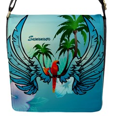 Summer Design With Cute Parrot And Palms Flap Messenger Bag (s)