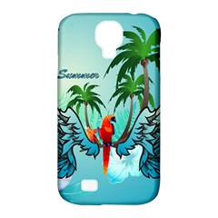 Summer Design With Cute Parrot And Palms Samsung Galaxy S4 Classic Hardshell Case (pc+silicone)