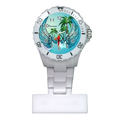 Summer Design With Cute Parrot And Palms Nurses Watches