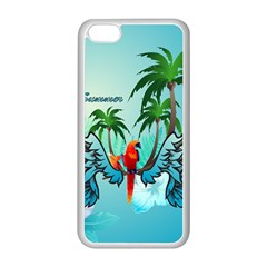 Summer Design With Cute Parrot And Palms Apple Iphone 5c Seamless Case (white)