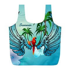 Summer Design With Cute Parrot And Palms Full Print Recycle Bags (l)  by FantasyWorld7