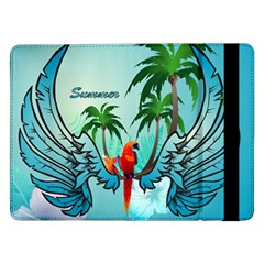 Summer Design With Cute Parrot And Palms Samsung Galaxy Tab Pro 12 2  Flip Case