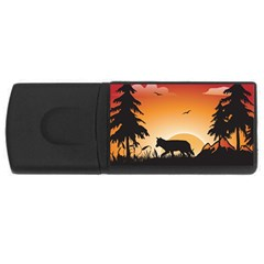 The Lonely Wolf In The Sunset Usb Flash Drive Rectangular (4 Gb)  by FantasyWorld7
