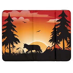 The Lonely Wolf In The Sunset Samsung Galaxy Tab 7  P1000 Flip Case by FantasyWorld7