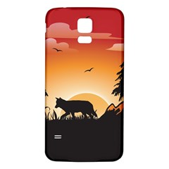 The Lonely Wolf In The Sunset Samsung Galaxy S5 Back Case (White) by FantasyWorld7