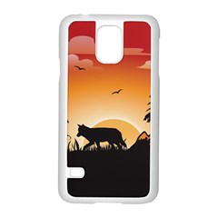 The Lonely Wolf In The Sunset Samsung Galaxy S5 Case (white) by FantasyWorld7