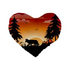 The Lonely Wolf In The Sunset Standard 16  Premium Flano Heart Shape Cushions by FantasyWorld7