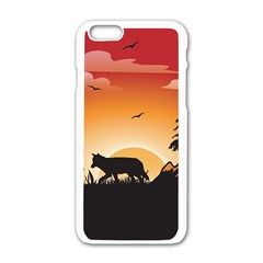 The Lonely Wolf In The Sunset Apple Iphone 6/6s White Enamel Case by FantasyWorld7
