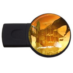 Awesome Sunset Over The Ocean With Ship Usb Flash Drive Round (2 Gb)  by FantasyWorld7