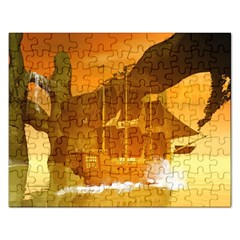 Awesome Sunset Over The Ocean With Ship Rectangular Jigsaw Puzzl by FantasyWorld7