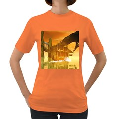 Awesome Sunset Over The Ocean With Ship Women s Dark T Shirt by FantasyWorld7