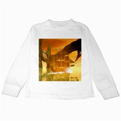 Awesome Sunset Over The Ocean With Ship Kids Long Sleeve T Shirts by FantasyWorld7
