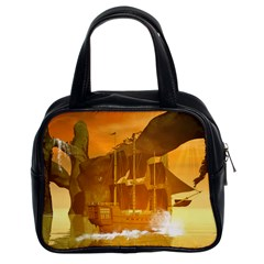 Awesome Sunset Over The Ocean With Ship Classic Handbags (2 Sides) by FantasyWorld7
