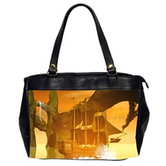 Awesome Sunset Over The Ocean With Ship Office Handbags (2 Sides)  by FantasyWorld7