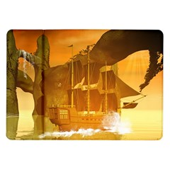 Awesome Sunset Over The Ocean With Ship Samsung Galaxy Tab 10 1  P7500 Flip Case