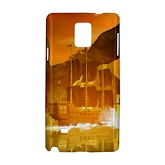 Awesome Sunset Over The Ocean With Ship Samsung Galaxy Note 4 Hardshell Case by FantasyWorld7