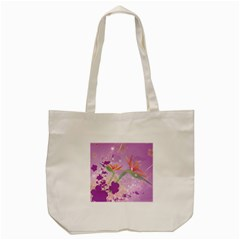 Wonderful Flowers On Soft Purple Background Tote Bag (cream)  by FantasyWorld7