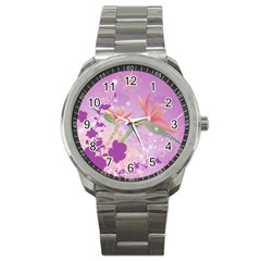 Wonderful Flowers On Soft Purple Background Sport Metal Watches by FantasyWorld7