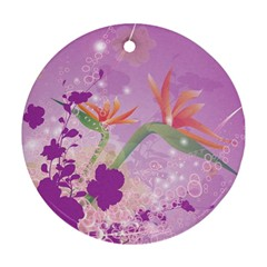 Wonderful Flowers On Soft Purple Background Round Ornament (two Sides)