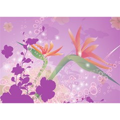Wonderful Flowers On Soft Purple Background Birthday Cake 3d Greeting Card (7x5)