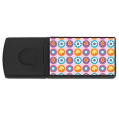 Chic Floral Pattern Usb Flash Drive Rectangular (4 Gb)  by creativemom