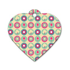 Chic Floral Pattern Dog Tag Heart (one Side) by creativemom