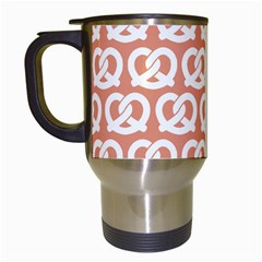Salmon Pretzel Illustrations Pattern Travel Mugs (white) by creativemom
