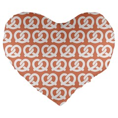 Salmon Pretzel Illustrations Pattern Large 19  Premium Heart Shape Cushions by creativemom