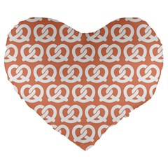 Salmon Pretzel Illustrations Pattern Large 19  Premium Flano Heart Shape Cushions by creativemom