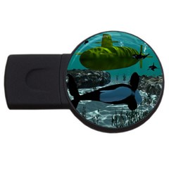 Submarine With Orca Usb Flash Drive Round (4 Gb)  by FantasyWorld7