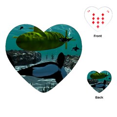 Submarine With Orca Playing Cards (heart)