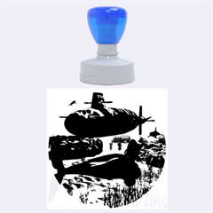 Submarine With Orca Rubber Round Stamps (large)