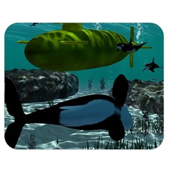 Submarine With Orca Double Sided Flano Blanket (medium)  by FantasyWorld7