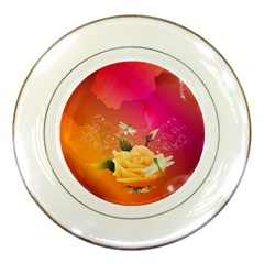 Beautiful Roses With Dragonflies Porcelain Plates by FantasyWorld7