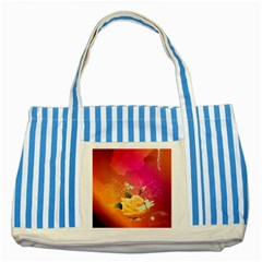 Beautiful Roses With Dragonflies Striped Blue Tote Bag  by FantasyWorld7