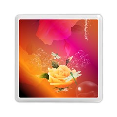 Beautiful Roses With Dragonflies Memory Card Reader (square)  by FantasyWorld7