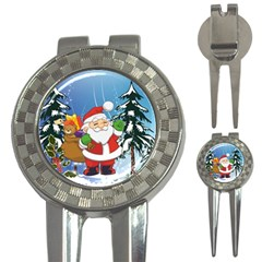 Funny Santa Claus In The Forrest 3-in-1 Golf Divots by FantasyWorld7